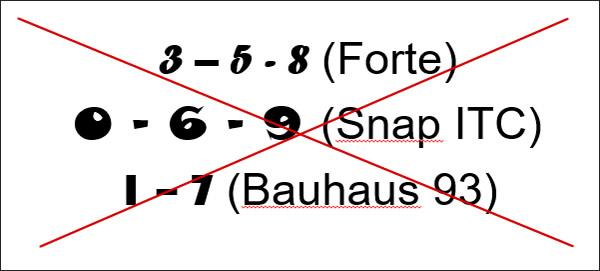 Príklady ozdobných číslic nevhodných na použitie pri tlači
