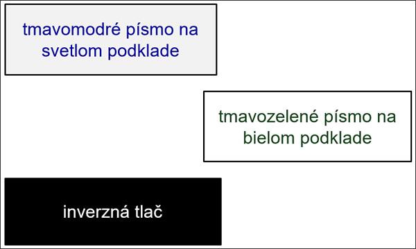 Príklady dobrého kontrastu textu a pozadia